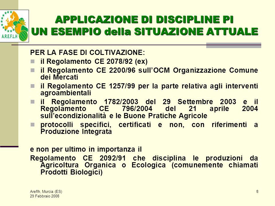 Areflh, Murcia (ES) 29 Febbraio 2008 8 APPLICAZIONE DI DISCIPLINE PI UN ESEMPIO della SITUAZIONE ATTUALE PER LA FASE DI COLTIVAZIONE: il Regolamento CE 2078/92 (ex) il Regolamento CE 2200/96 sull'OCM Organizzazione Comune dei Mercati il Regolamento CE 1257/99 per la parte relativa agli interventi agroambientali il Regolamento 1782/2003 del 29 Settembre 2003 e il Regolamento CE 796/2004 del 21 aprile 2004 sull'econdizionalità e le Buone Pratiche Agricole protocolli specifici, certificati e non, con riferimenti a Produzione Integrata e non per ultimo in importanza il Regolamento CE 2092/91 che disciplina le produzioni da Agricoltura Organica o Ecologica (comunemente chiamati Prodotti Biologici)