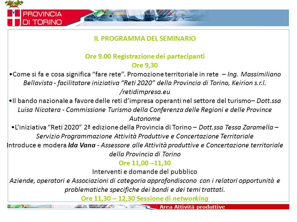"""Area Attività produttive IL PROGRAMMA DEL SEMINARIO Ore 9.00 Registrazione dei partecipanti Ore 9,30 Come si fa e cosa significa """"fare rete"""". Promozio"""