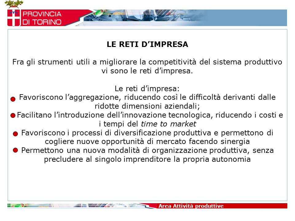 Area Attività produttive LE RETI D'IMPRESA Fra gli strumenti utili a migliorare la competitività del sistema produttivo vi sono le reti d'impresa. Le