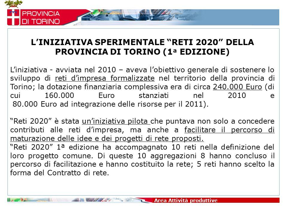 """Area Attività produttive L'INIZIATIVA SPERIMENTALE """"RETI 2020"""" DELLA PROVINCIA DI TORINO (1 ª EDIZIONE) L'iniziativa - avviata nel 2010 – aveva l'obie"""