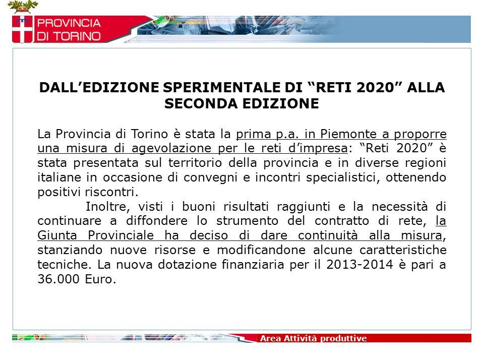 """Area Attività produttive DALL'EDIZIONE SPERIMENTALE DI """"RETI 2020"""" ALLA SECONDA EDIZIONE La Provincia di Torino è stata la prima p.a. in Piemonte a pr"""