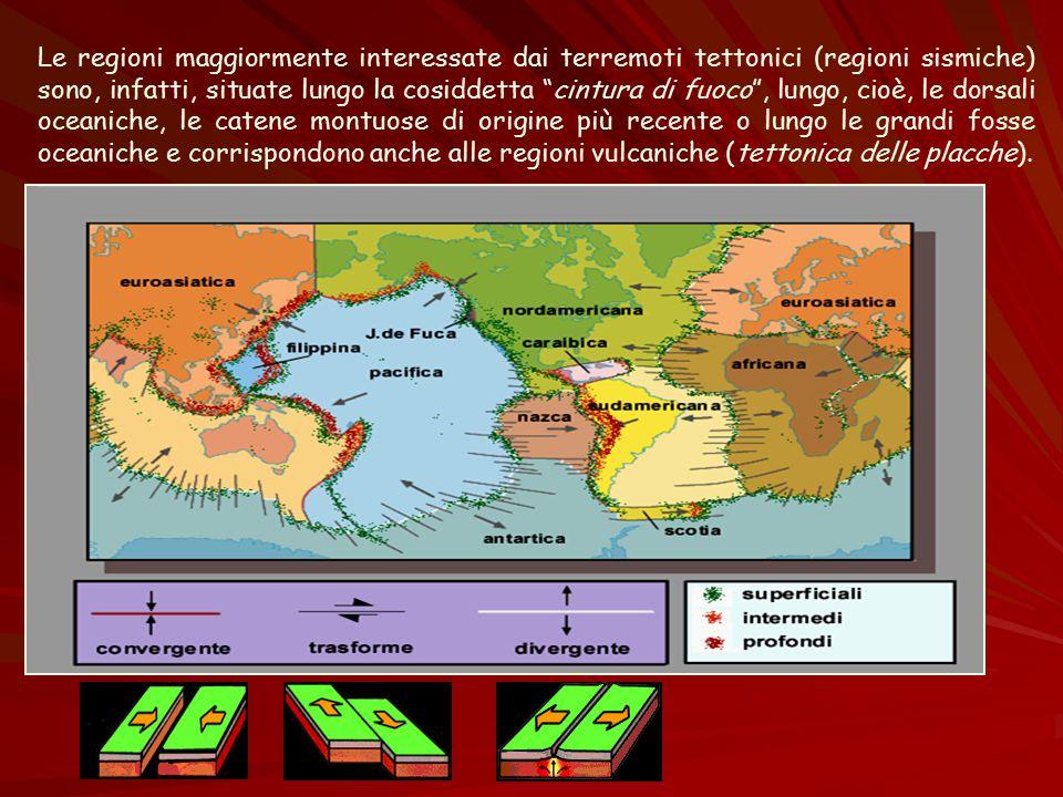 """Le regioni maggiormente interessate dai terremoti tettonici (regioni sismiche) sono, infatti, situate lungo la cosiddetta """"cintura di fuoco"""", lungo, c"""