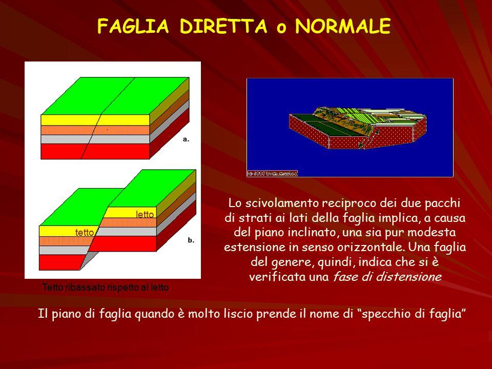 FAGLIA DIRETTA o NORMALE tetto letto Lo scivolamento reciproco dei due pacchi di strati ai lati della faglia implica, a causa del piano inclinato, una