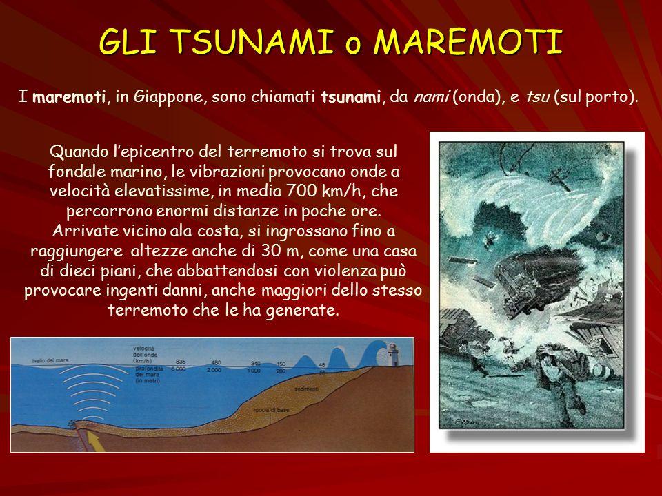 GLI TSUNAMI o MAREMOTI I maremoti, in Giappone, sono chiamati tsunami, da nami (onda), e tsu (sul porto). Quando l'epicentro del terremoto si trova su