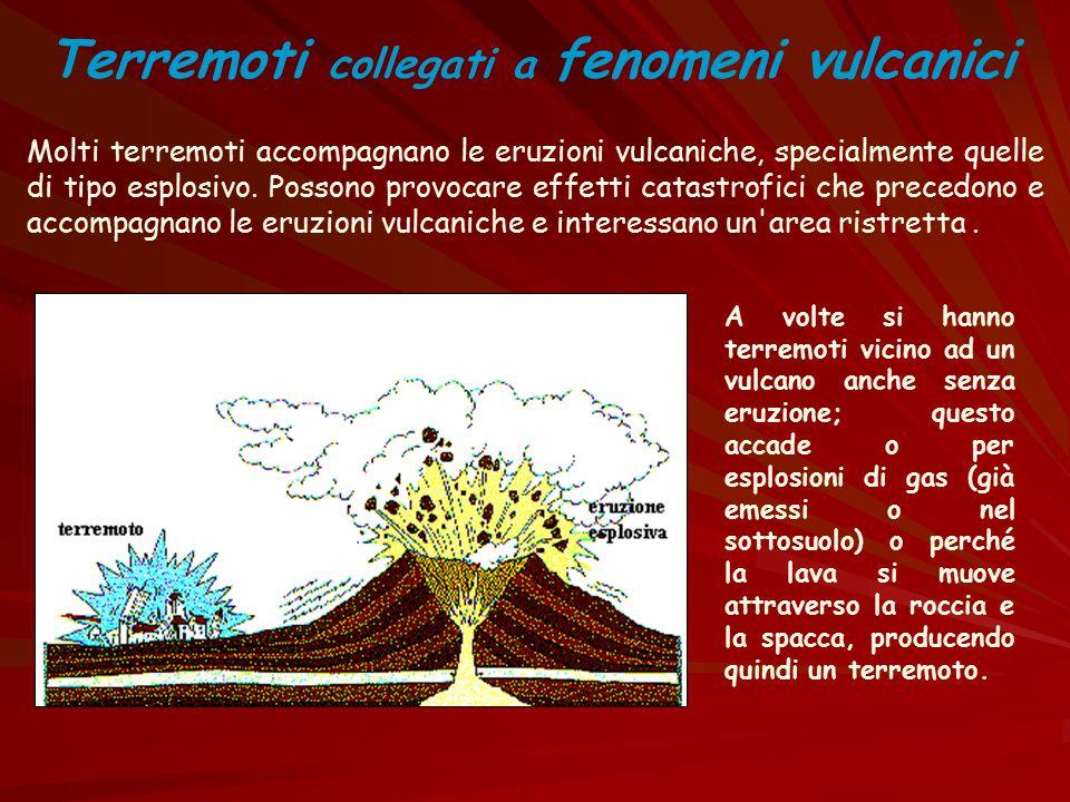Molti terremoti accompagnano le eruzioni vulcaniche, specialmente quelle di tipo esplosivo. Possono provocare effetti catastrofici che precedono e acc