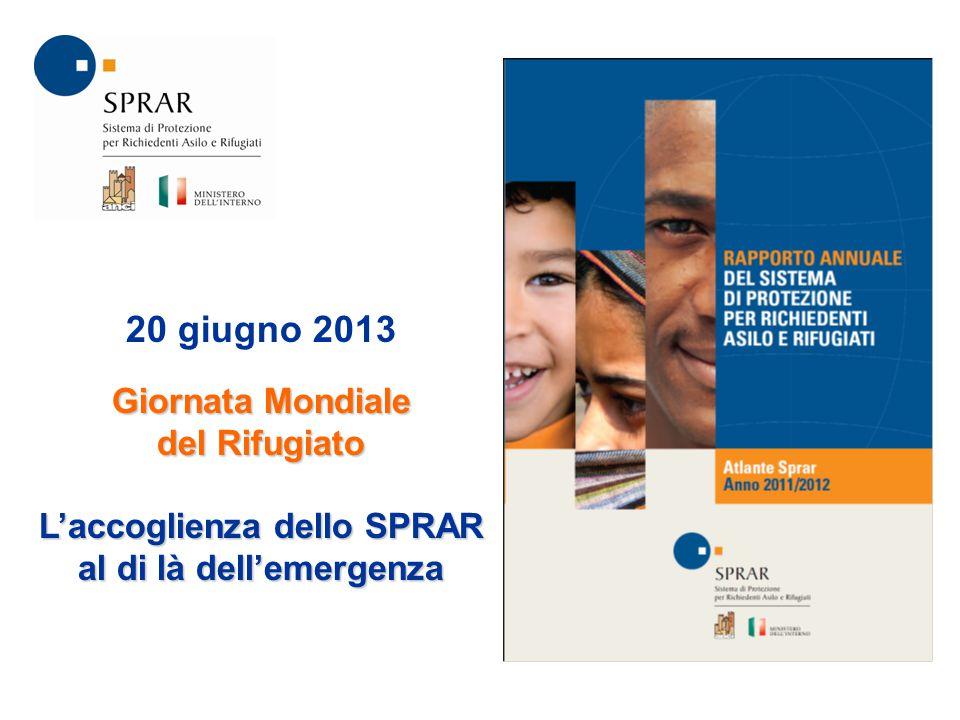 20 giugno 2013 Giornata Mondiale del Rifugiato L'accoglienza dello SPRAR al di là dell'emergenza
