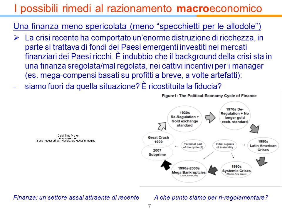 """7 Una finanza meno spericolata (meno """"specchietti per le allodole"""")  La crisi recente ha comportato un'enorme distruzione di ricchezza, in parte si t"""