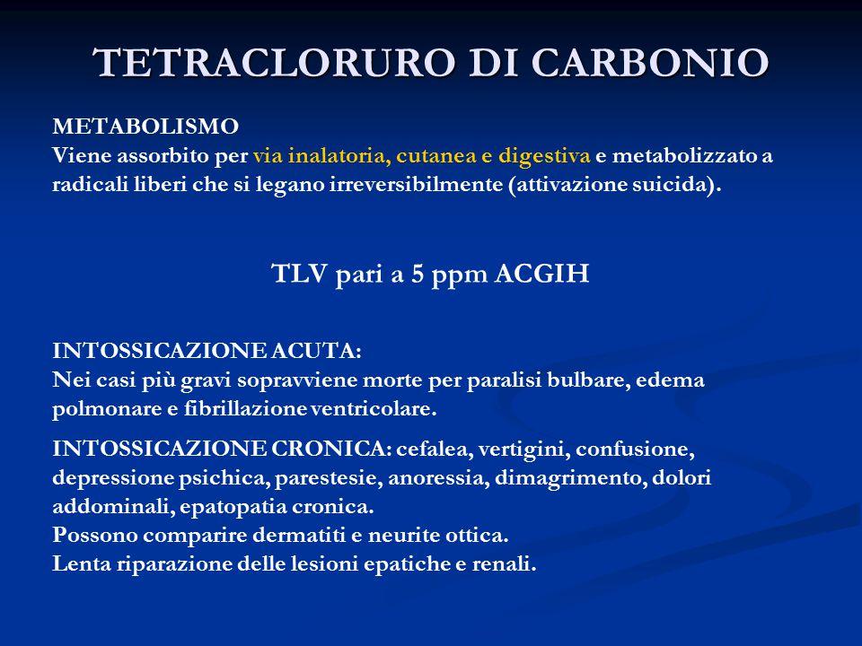 TETRACLORURO DI CARBONIO METABOLISMO Viene assorbito per via inalatoria, cutanea e digestiva e metabolizzato a radicali liberi che si legano irreversibilmente (attivazione suicida).