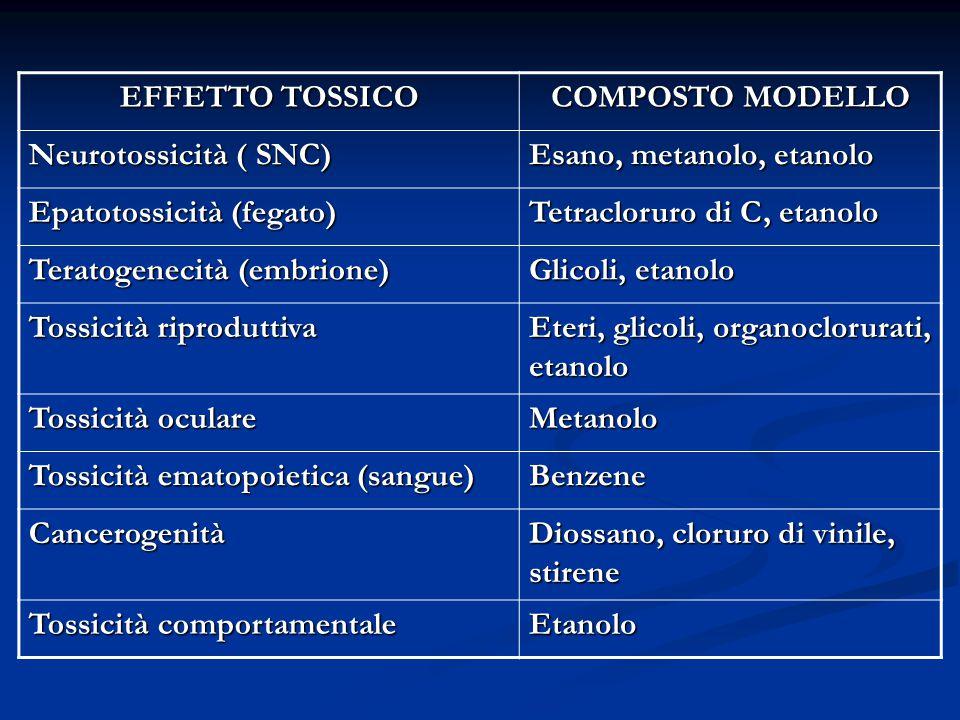 EFFETTO TOSSICO COMPOSTO MODELLO Neurotossicità ( SNC) Esano, metanolo, etanolo Epatotossicità (fegato) Tetracloruro di C, etanolo Teratogenecità (embrione) Glicoli, etanolo Tossicità riproduttiva Eteri, glicoli, organoclorurati, etanolo Tossicità oculare Metanolo Tossicità ematopoietica (sangue) Benzene Cancerogenità Diossano, cloruro di vinile, stirene Tossicità comportamentale Etanolo