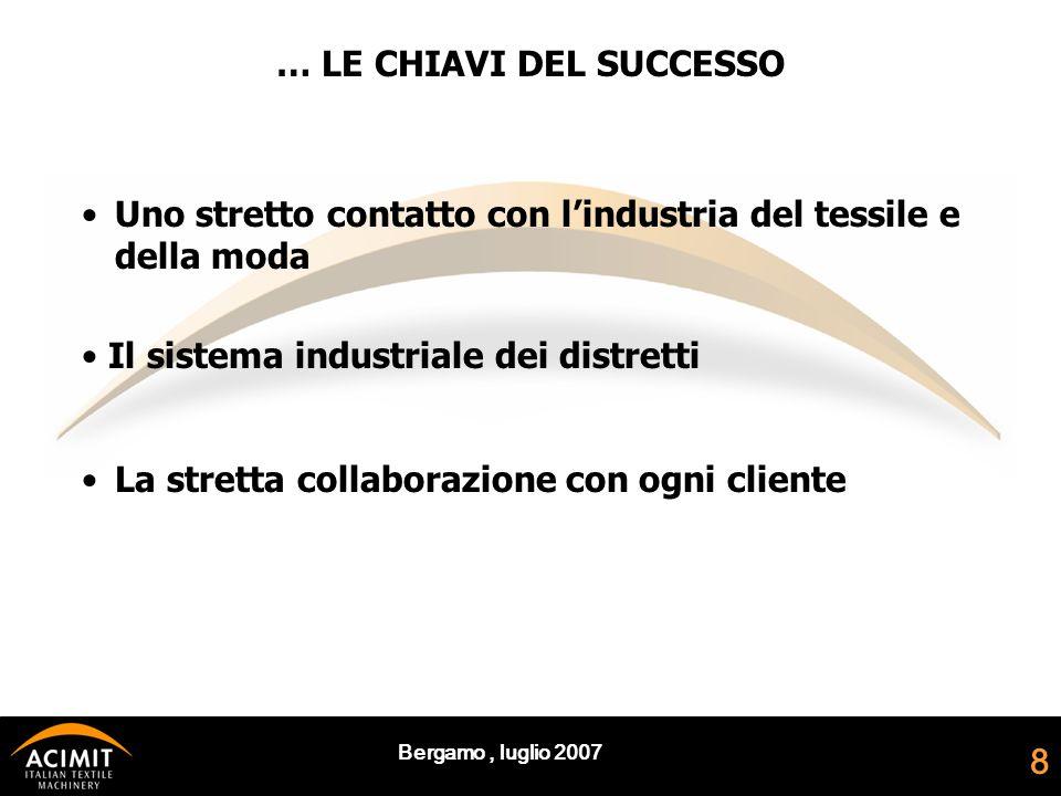 Bergamo, luglio 2007 8 Uno stretto contatto con l'industria del tessile e della moda Il sistema industriale dei distretti La stretta collaborazione con ogni cliente … LE CHIAVI DEL SUCCESSO