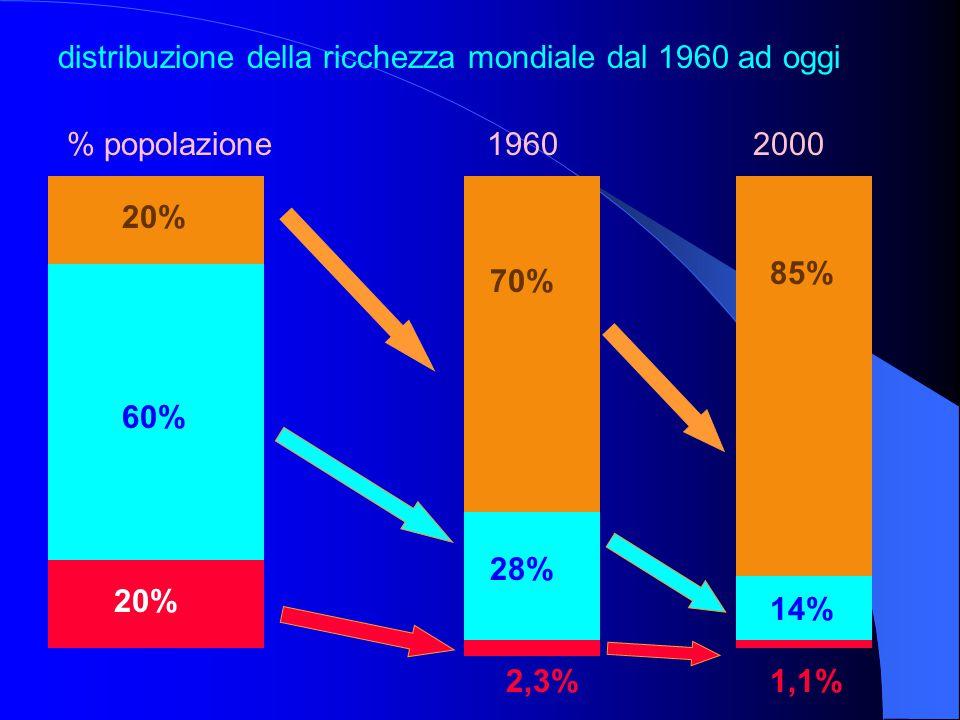 85% 70% 28% 20% 60% 14% 2,3%1,1% distribuzione della ricchezza mondiale dal 1960 ad oggi % popolazione 1960 2000 14%