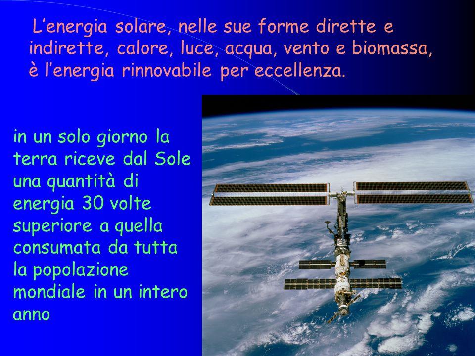 in un solo giorno la terra riceve dal Sole una quantità di energia 30 volte superiore a quella consumata da tutta la popolazione mondiale in un intero anno L'energia solare, nelle sue forme dirette e indirette, calore, luce, acqua, vento e biomassa, è l'energia rinnovabile per eccellenza.