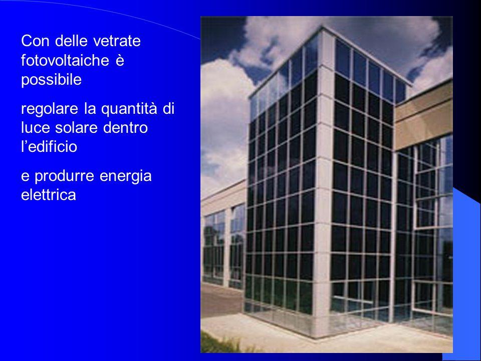 Con delle vetrate fotovoltaiche è possibile regolare la quantità di luce solare dentro l'edificio e produrre energia elettrica