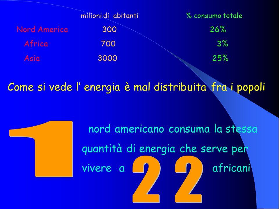 milioni di abitanti % consumo totale Nord America 300 26% Africa 700 3% Asia 3000 25% Come si vede l' energia è mal distribuita fra i popoli nord americano consuma la stessa quantità di energia che serve per vivere a africani
