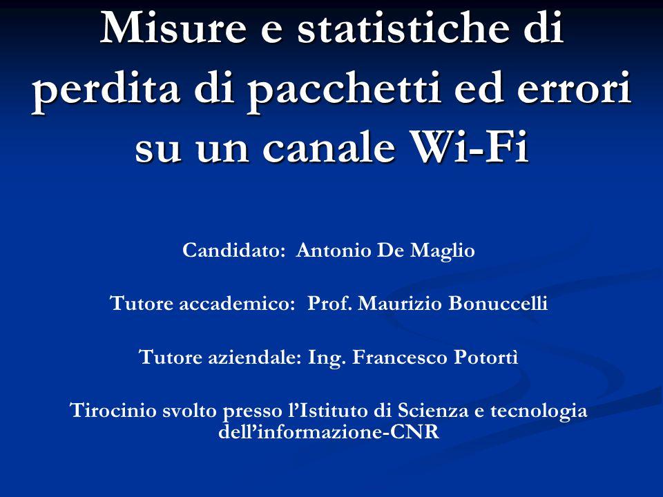 Misure e statistiche di perdita di pacchetti ed errori su un canale Wi-Fi Candidato: Antonio De Maglio Tutore accademico: Prof. Maurizio Bonuccelli Tu