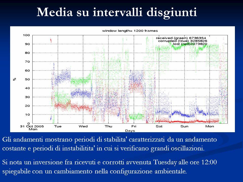 Media su intervalli disgiunti Gli andamenti mostrano periodi di stabilita' caratterizzati da un andamento costante e periodi di instabilitita' in cui