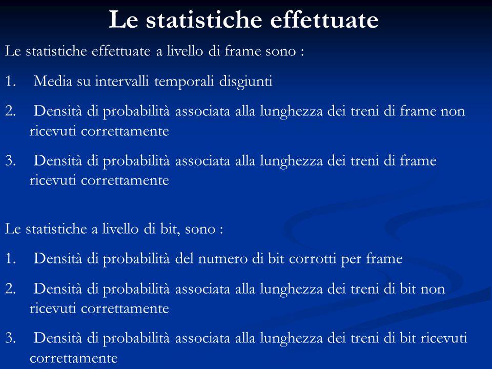 Le statistiche effettuate Le statistiche effettuate a livello di frame sono : 1. Media su intervalli temporali disgiunti 2. Densità di probabilità ass
