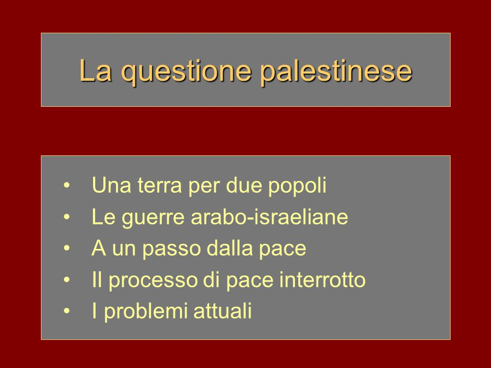 Una terra per due popoli 29 settembre 1947 l'ONU delibera la divisione della Palestina in due territori: –Stato di Israele (verde) con 500.000 ebrei e 400.000 arabi –Stato arabo (arancione) con 800.000 arabi e 10.000 ebrei –Gerusalemme amministrata dall'ONU 14 maggio 1948 proclamazione dello Stato di Israele con capitale Tel Aviv