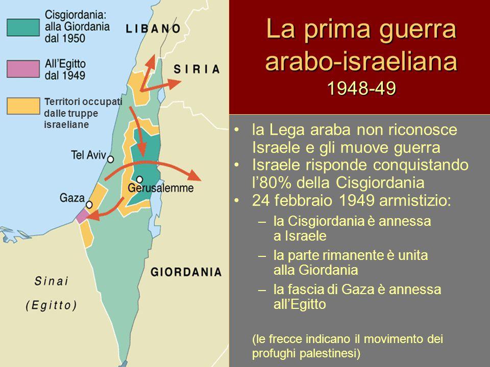 Seconda guerra arabo-israeliana 1956: detta guerra del Sinai il conflitto continua dopo il 1948 con azioni di guerriglia araba e rappresaglie israeliane gli insediamenti di coloni israeliani nei territori arabi provocano, nel 1956, la reazione araba: chiusura del canale di Suez alle navi dirette in Israele Tel Aviv, risponde conquistando Gaza e il Sinai Francia e Inghilterra, a sostegno di Israele, occupano il canale di Suez La minaccia di intervento dell'Urss a fianco dell'Egitto costringe Francia e Inghilterra a ritirare le truppe Il Sinai è affidato alle truppe ONU