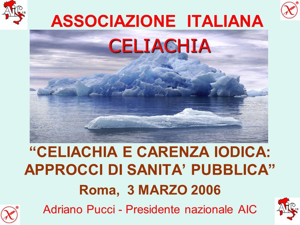 ASSOCIAZIONE ITALIANA CELIACHIA E CARENZA IODICA: APPROCCI DI SANITA' PUBBLICA Roma, 3 MARZO 2006 Adriano Pucci - Presidente nazionale AIC CELIACHIA