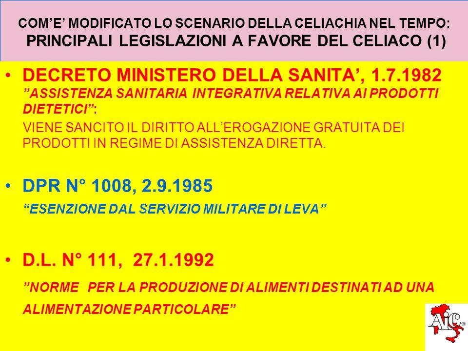 COM'E' MODIFICATO LO SCENARIO DELLA CELIACHIA NEL TEMPO: PRINCIPALI LEGISLAZIONI A FAVORE DEL CELIACO (1) DECRETO MINISTERO DELLA SANITA', 1.7.1982 ASSISTENZA SANITARIAINTEGRATIVA RELATIVA AI PRODOTTI DIETETICI : VIENE SANCITO IL DIRITTO ALL'EROGAZIONE GRATUITA DEI PRODOTTI IN REGIME DI ASSISTENZA DIRETTA.