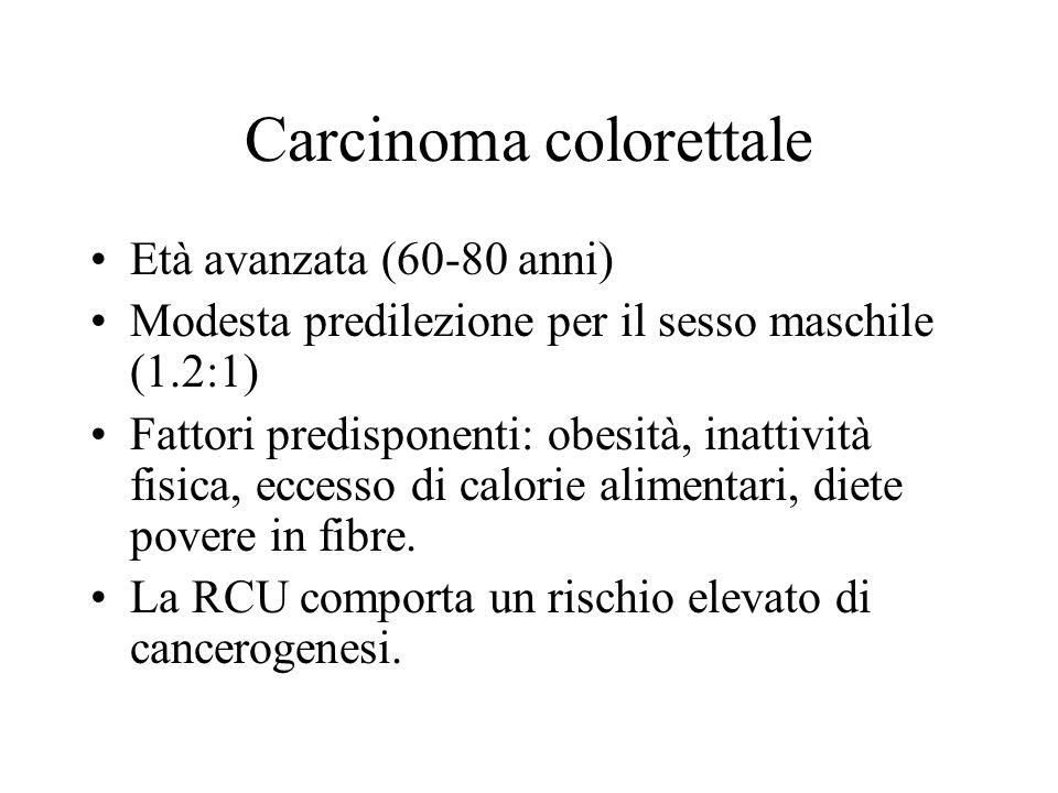 Carcinoma colorettale Età avanzata (60-80 anni) Modesta predilezione per il sesso maschile (1.2:1) Fattori predisponenti: obesità, inattività fisica,