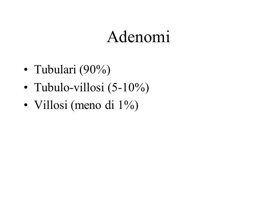 Adenomi tubulari Prevalente localizzazione nel colon Sessili o peduncolati Sfondati ghiandolari con lamina propria interposta, e basso grado di displasia.