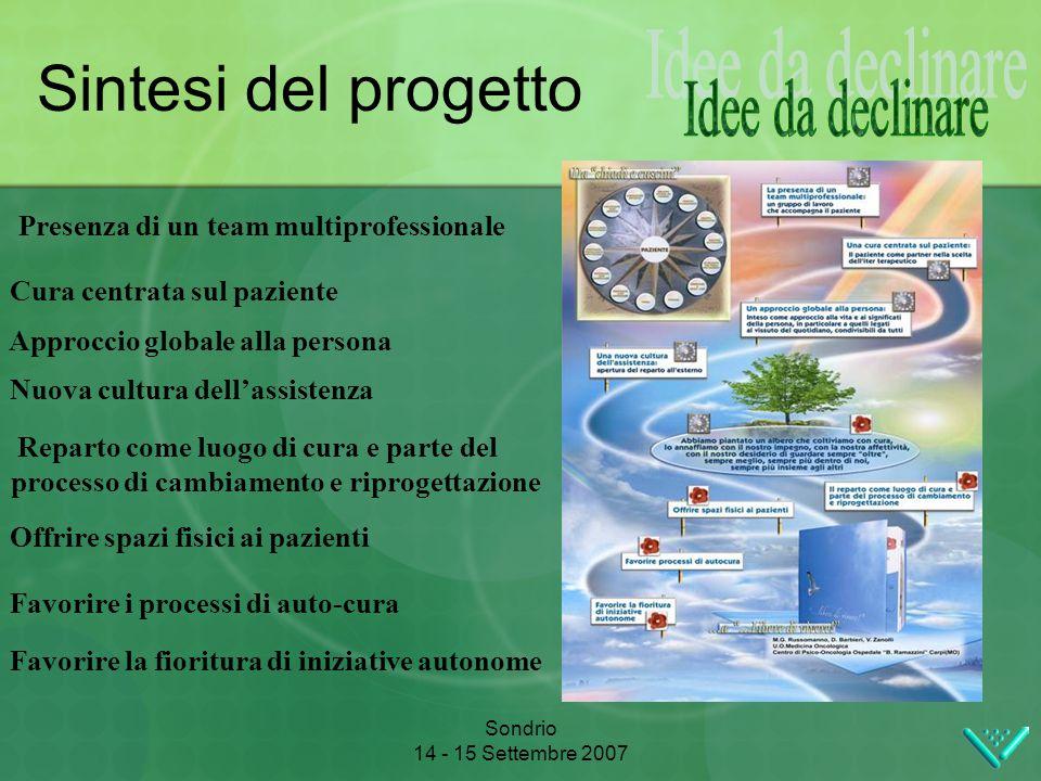 Sondrio 14 - 15 Settembre 2007 Sintesi del progetto Presenza di un team multiprofessionale Cura centrata sul paziente Approccio globale alla persona N