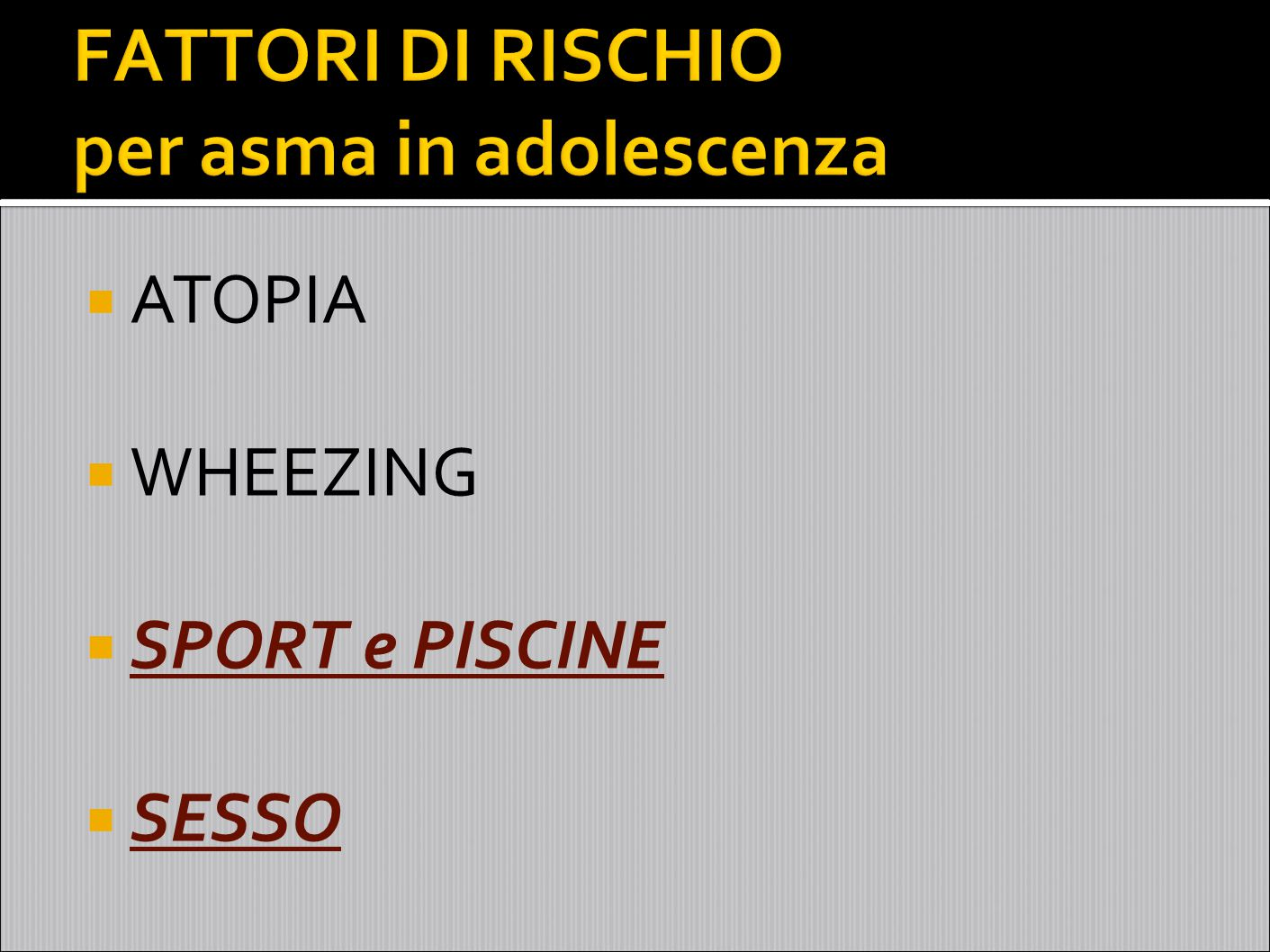 Esercizio Asma Broncocostrizione ~ 50% Fino al 90% (specialmente atleti d'elite) EosinofilicaNeutrofilica Scarso controllo dell'asmaBuon controllo dell'asma Responsiva a ICSScarsamente responsiva a ICS