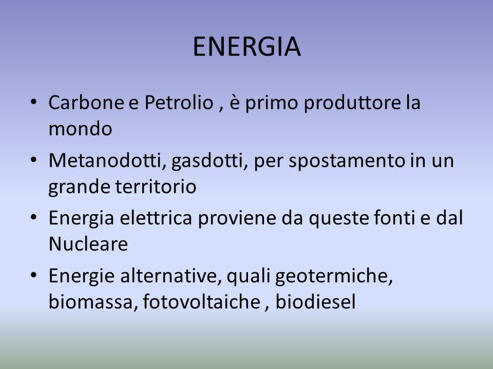 ENERGIA Carbone e Petrolio, è primo produttore la mondo Metanodotti, gasdotti, per spostamento in un grande territorio Energia elettrica proviene da queste fonti e dal Nucleare Energie alternative, quali geotermiche, biomassa, fotovoltaiche, biodiesel