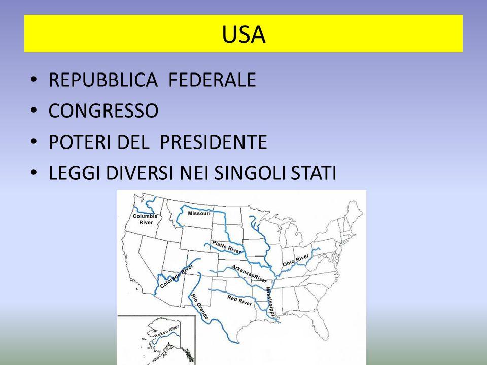 USA REPUBBLICA FEDERALE CONGRESSO POTERI DEL PRESIDENTE LEGGI DIVERSI NEI SINGOLI STATI
