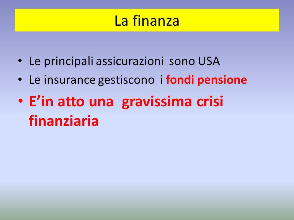 La finanza Le principali assicurazioni sono USA Le insurance gestiscono i fondi pensione E'in atto una gravissima crisi finanziaria