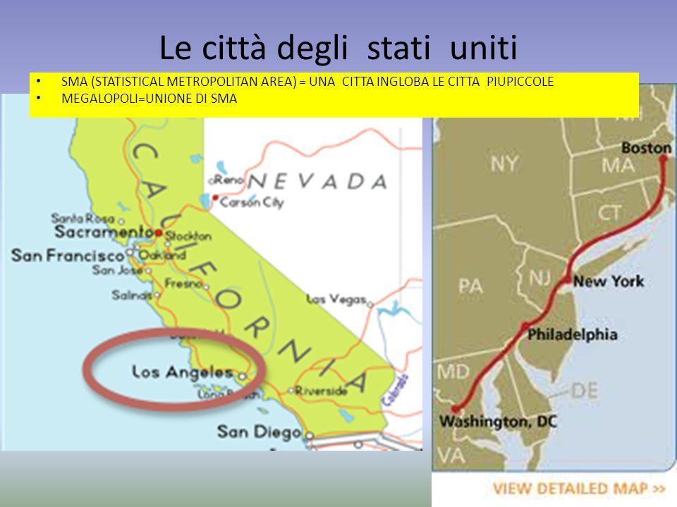 Le città degli stati uniti SMA (STATISTICAL METROPOLITAN AREA) = UNA CITTA INGLOBA LE CITTA PIUPICCOLE MEGALOPOLI=UNIONE DI SMA