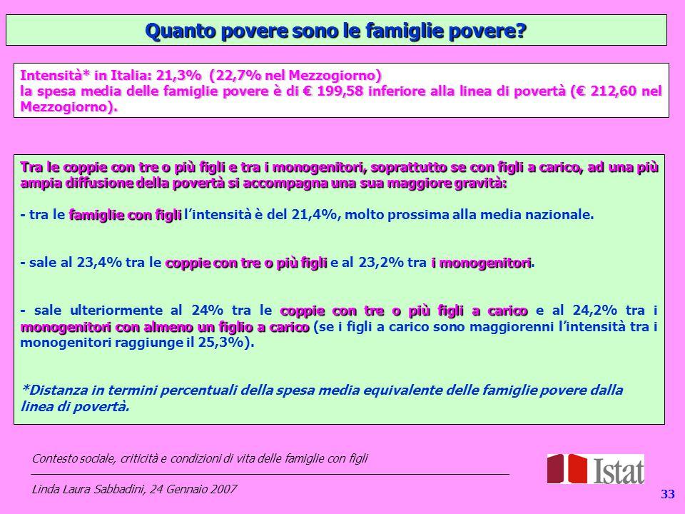 133 Quanto povere sono le famiglie povere.