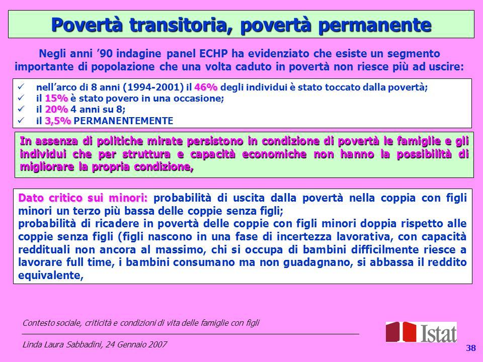 138 Povertà transitoria, povertà permanente 46% nell'arco di 8 anni (1994-2001) il 46% degli individui è stato toccato dalla povertà; 15% il 15% è stato povero in una occasione; 20% il 20% 4 anni su 8; 3,5% il 3,5% PERMANENTEMENTE Negli anni '90 indagine panel ECHP ha evidenziato che esiste un segmento importante di popolazione che una volta caduto in povertà non riesce più ad uscire: In assenza di politiche mirate persistono in condizione di povertà le famiglie e gli individui che per struttura e capacità economiche non hanno la possibilità di migliorare la propria condizione, Dato critico sui minori: Dato critico sui minori: probabilità di uscita dalla povertà nella coppia con figli minori un terzo più bassa delle coppie senza figli; probabilità di ricadere in povertà delle coppie con figli minori doppia rispetto alle coppie senza figli (figli nascono in una fase di incertezza lavorativa, con capacità reddituali non ancora al massimo, chi si occupa di bambini difficilmente riesce a lavorare full time, i bambini consumano ma non guadagnano, si abbassa il reddito equivalente, Contesto sociale, criticità e condizioni di vita delle famiglie con figli _____________________________________________________________________________ Linda Laura Sabbadini, 24 Gennaio 2007 38