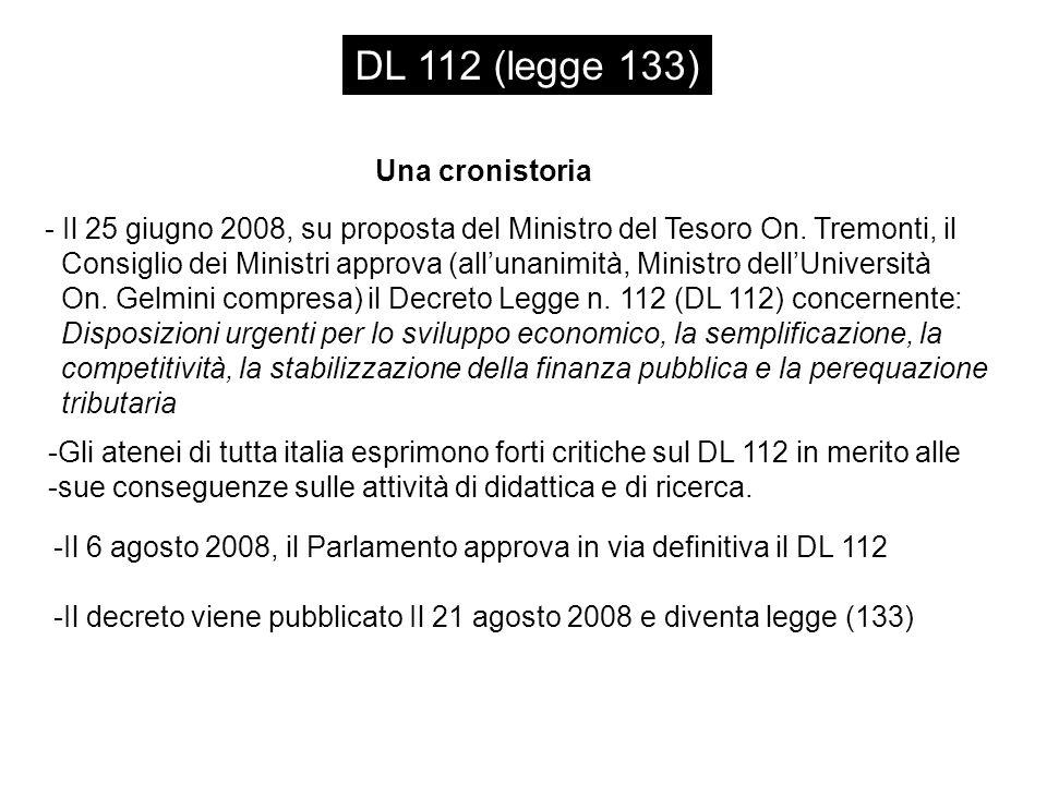 DL 112 (legge 133) Una cronistoria - Il 25 giugno 2008, su proposta del Ministro del Tesoro On.