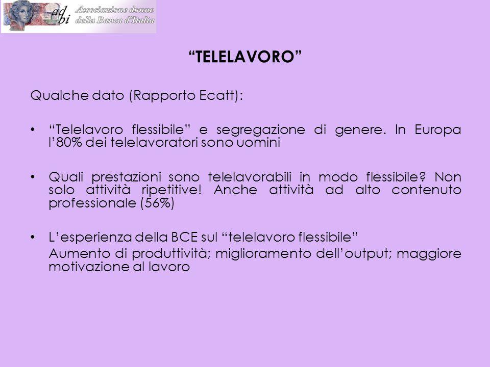 """Qualche dato (Rapporto Ecatt): """"Telelavoro flessibile"""" e segregazione di genere. In Europa l'80% dei telelavoratori sono uomini Quali prestazioni sono"""