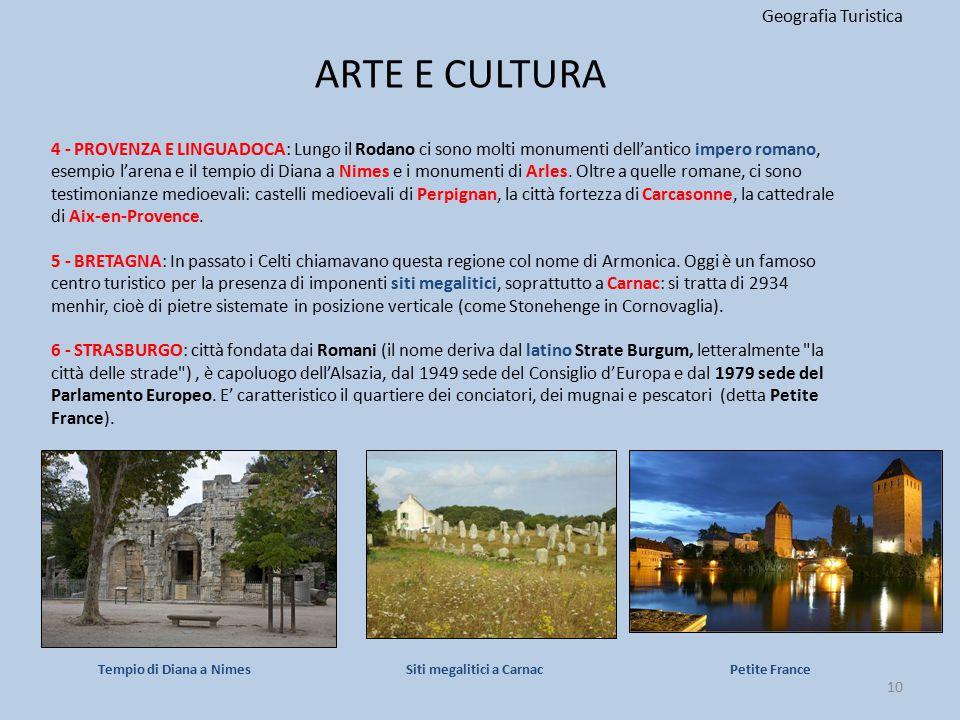ARTE E CULTURA Geografia Turistica 10 4 - PROVENZA E LINGUADOCA: Lungo il Rodano ci sono molti monumenti dell'antico impero romano, esempio l'arena e
