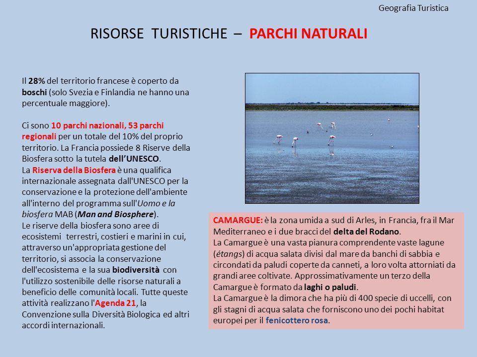 Geografia Turistica Il 28% del territorio francese è coperto da boschi (solo Svezia e Finlandia ne hanno una percentuale maggiore). Ci sono 10 parchi