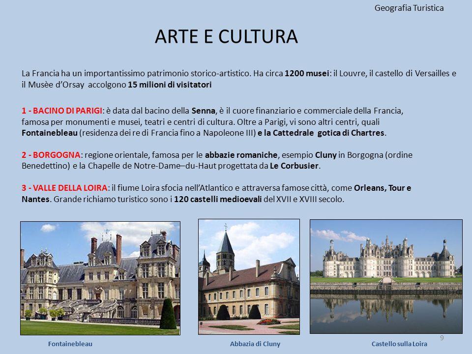 ARTE E CULTURA Geografia Turistica 9 1 - BACINO DI PARIGI: è data dal bacino della Senna, è il cuore finanziario e commerciale della Francia, famosa p