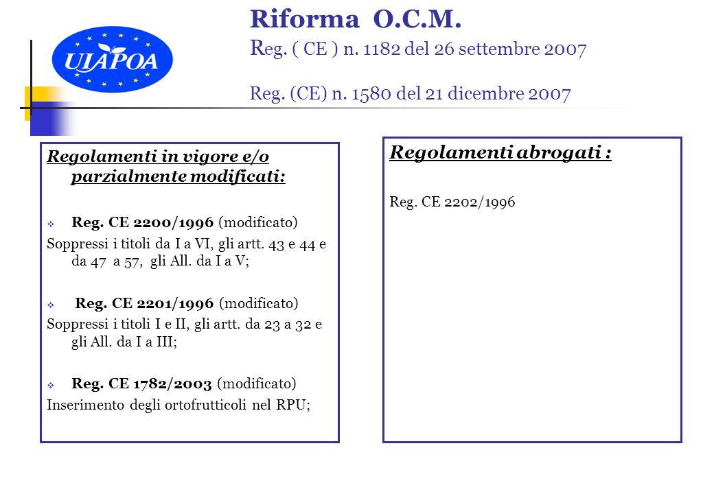 Riforma O.C.M. R eg. ( CE ) n. 1182 del 26 settembre 2007 Reg.