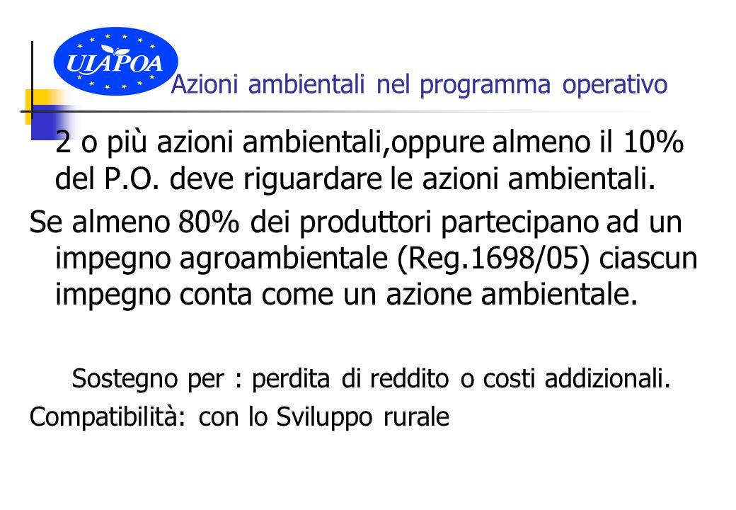 Azioni ambientali nel programma operativo 2 o più azioni ambientali,oppure almeno il 10% del P.O.