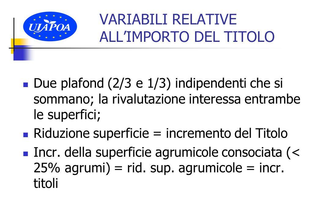 VARIABILI RELATIVE ALL'IMPORTO DEL TITOLO Due plafond (2/3 e 1/3) indipendenti che si sommano; la rivalutazione interessa entrambe le superfici; Riduzione superficie = incremento del Titolo Incr.