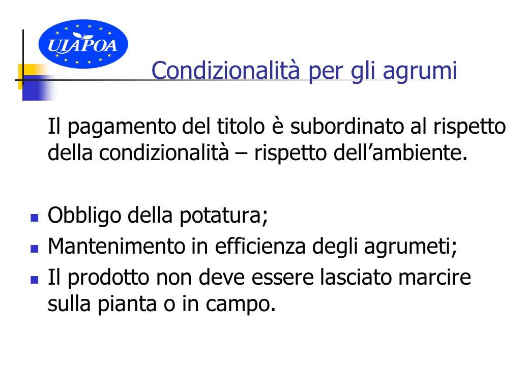Condizionalità per gli agrumi Il pagamento del titolo è subordinato al rispetto della condizionalità – rispetto dell'ambiente.