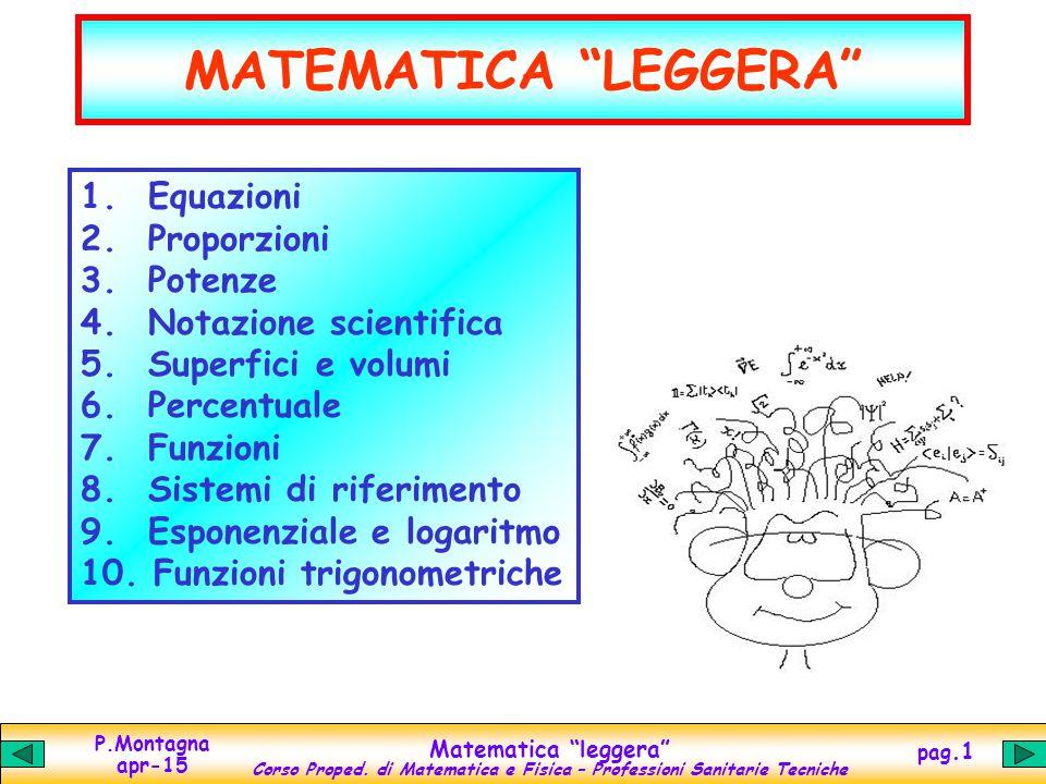 """P.Montagna apr-15 Matematica """"leggera"""" Corso Proped. di Matematica e Fisica – Professioni Sanitarie Tecniche pag.1 MATEMATICA """"LEGGERA"""" 1. Equazioni 2"""
