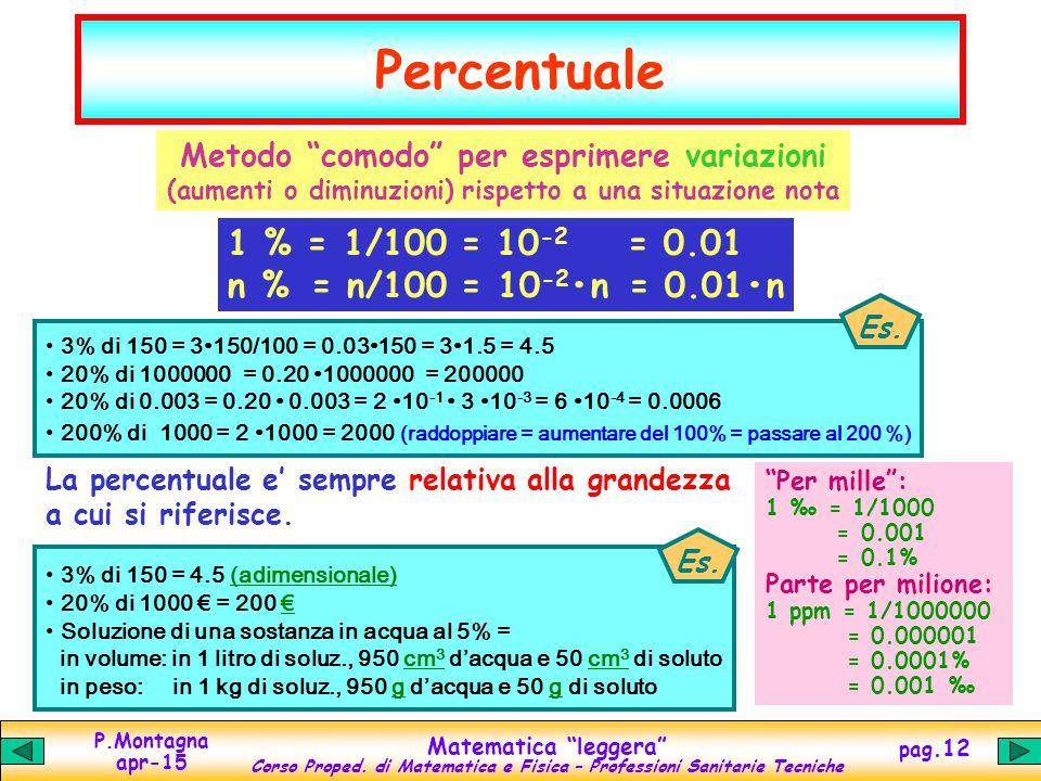 """P.Montagna apr-15 Matematica """"leggera"""" Corso Proped. di Matematica e Fisica – Professioni Sanitarie Tecniche pag.12 Percentuale Metodo """"comodo"""" per es"""