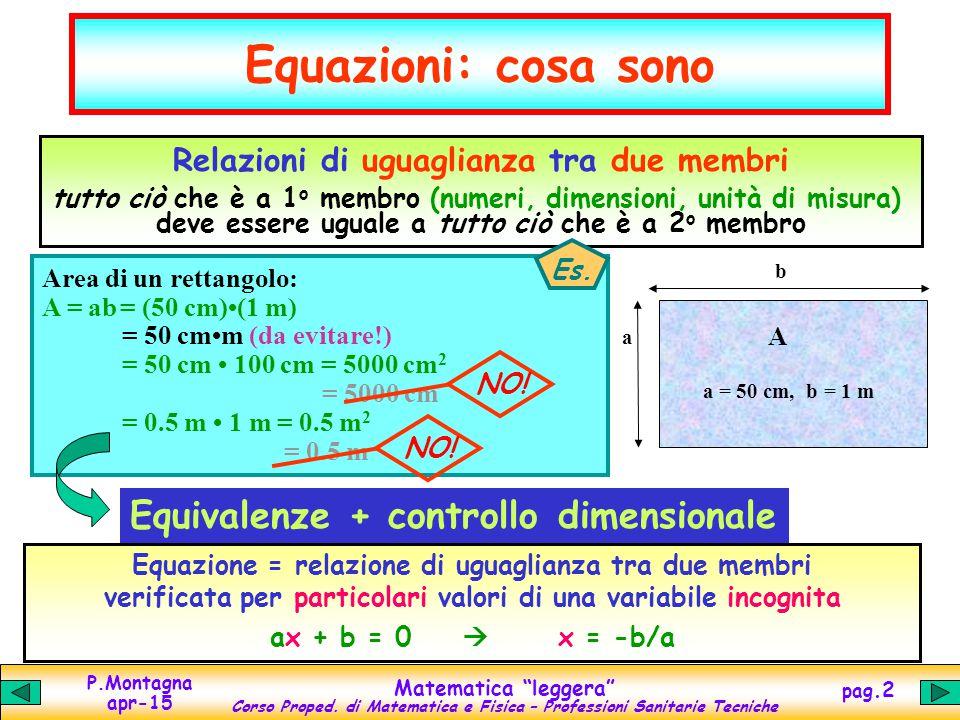 """P.Montagna apr-15 Matematica """"leggera"""" Corso Proped. di Matematica e Fisica – Professioni Sanitarie Tecniche pag.2 Equazioni: cosa sono Relazioni di u"""