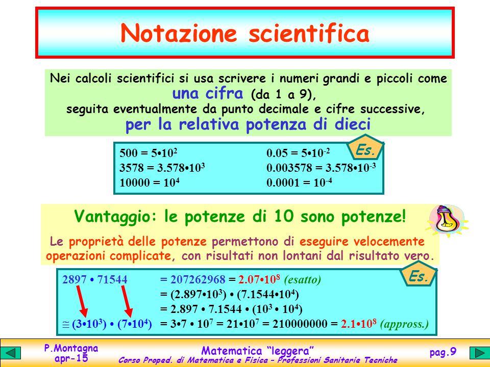 """P.Montagna apr-15 Matematica """"leggera"""" Corso Proped. di Matematica e Fisica – Professioni Sanitarie Tecniche pag.9 Notazione scientifica Vantaggio: le"""