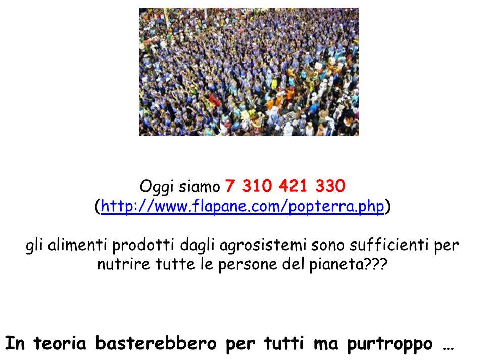 Oggi siamo 7 310 421 330 (http://www.flapane.com/popterra.php)http://www.flapane.com/popterra.php gli alimenti prodotti dagli agrosistemi sono suffici
