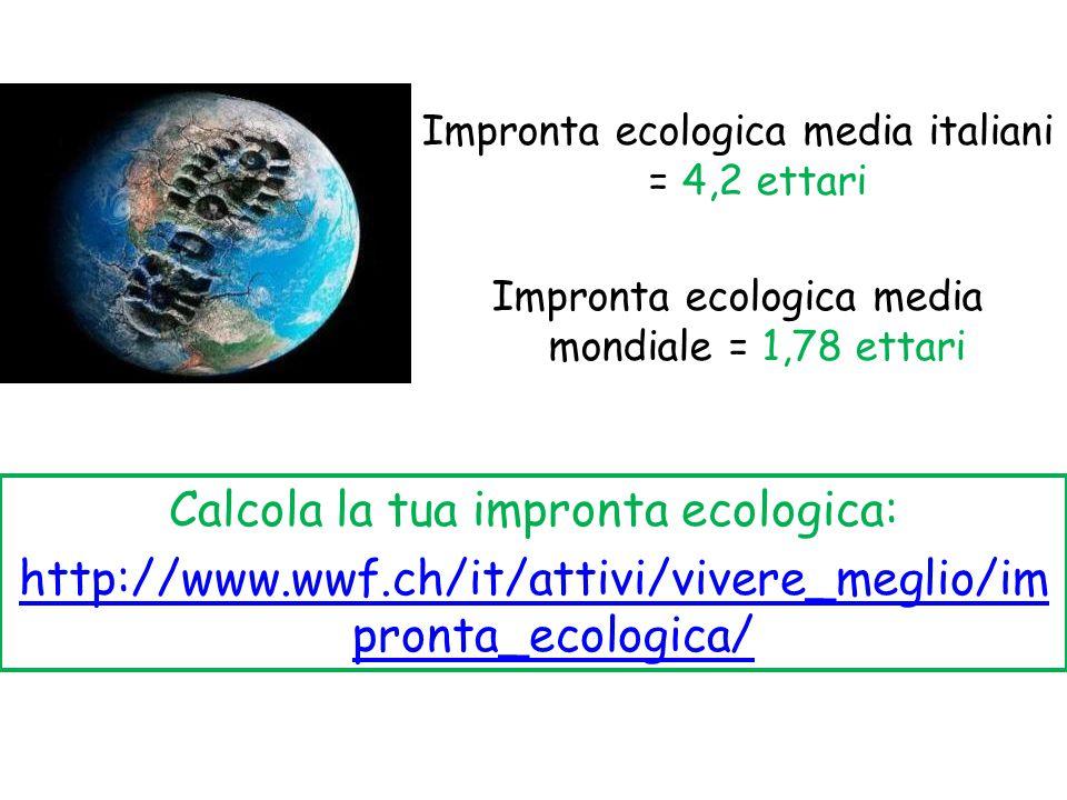 Impronta ecologica media italiani = 4,2 ettari Impronta ecologica media mondiale = 1,78 ettari Calcola la tua impronta ecologica: http://www.wwf.ch/it